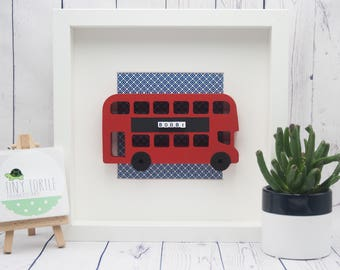 London bus frame, new baby gift, christening gift, baby shower gift, nursery decor, personalised gift, birthday gift, wooden box frame