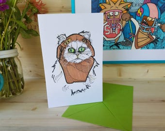 Ewok Greeting Card/ Ewok Card/ Persian Cat Art/ Cat Greeting Card/ Cat Card/ Cats in Cosplay/ Cosplay Art/ Cats in Costume Card/ Starwars