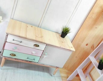 Hutch Dresser table TV Nordic-style design branches forest colors cake