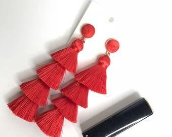 Red Tassel Earrings with Stud, Tassel Layered Earrings, Thread Earrings, Layered Earrings, Fringe Earrings, Tassel Earrings