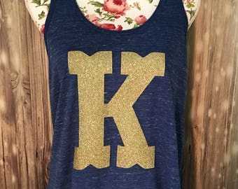 Kentucky Tank Gold Confetti Glitter K with Monogram on the back