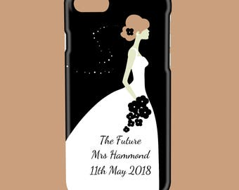 Personalised Wedding Bride to Be. Black, Pink or Lilac - Protective Glossy Phone Cover Case iPhone iP Samsung Galaxy GS