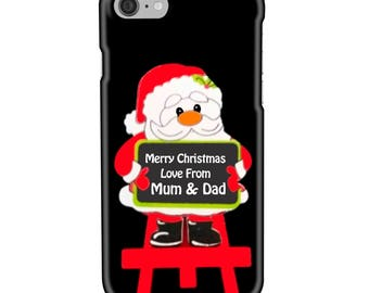 Personalised Name, Initials - Santa Claus holding a Blackboard with message - Protective Glossy Phone Cover Case iPhone iP Samsung Galaxy GS