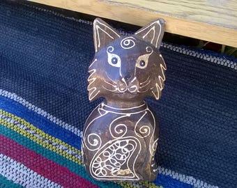 Hand Carved Wood Cat -Vintage -Vintage Wood Hand Carved Cat- Woodcarving Vintage Tribal Art- Hand Carved Wood Sculpture- Wood Sculpture