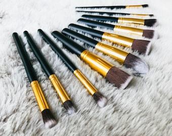 Makeup brushes - Luxury black & gold set - Professional Sapphire Cosmetics makeup brushes - 10 piece set