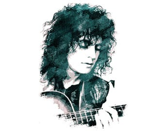 T-SHIRT: Marc Bolan - Acoustic Guru - Classic T-Shirt & Ladies Fitted Tee - (LazyCarrot)