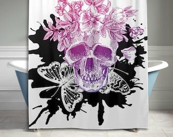 Purple Pink Floral Sugar Skull Shower Curtain 60 X 72 inch Bathroom Decor Home Decor Gift for Mom