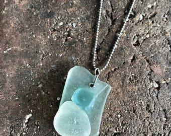 Fused Sea Glass Pendant Necklace