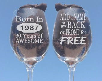 30th Birthday Wne Glass, Gifts for Women, 30th Birthday Gift for Men, 30th Birthday, Made in 1987, Personalized Birthday Gifts, Wine Glasses