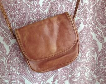 small vintage Zanon & Zago leather bag cognac brown braided strap