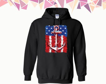 US Flag Anchor Hooded Sweatshirt US Flag Hoodie American Flag Hoodie Anchor Sweater Hoodie Sweatshirt Sweater Hooded Sweatshirt