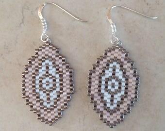 Earrings peyote MIYUKI beads hanging in silver