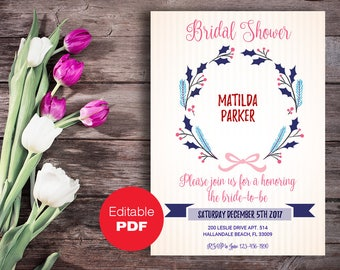Bridal Shower invitation, Bridal Shower invite, Stripe bridal invitation, Wedding shower, DIY invitation, Editable bridal invitation