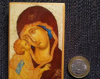 Russian icon of the Mother of God of Tenderness, attributed to Andrei Rublev, best-known for his rendition of the Holy Trinity.