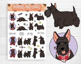 Scottish Terrier Scottie Dog Pupper Puppy Stickers 18pk