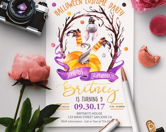 Halloween Costume Birthday Party Invitations, Halloween Costume Party Invites, Halloween Costume Party Invite, Halloween Invitation,