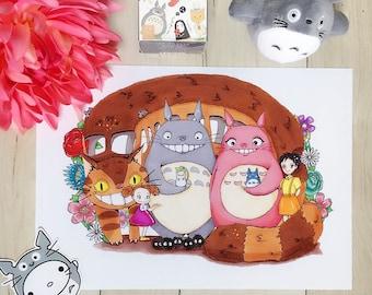 Totoro Family Portrait- Print