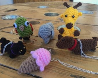 Handmade crochet necklaces and keyrings