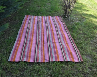 Pink Color Striped Kilim Rug 4.6 x 7.9 feet Vintage Kilim Rug Free Shipping Vegetable dyed Boho Decor Embroidery Decoreative Rug DC842