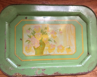 Floral Antique Decorative Metal Tin Tray