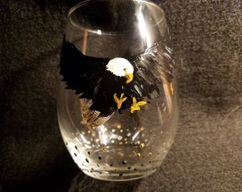 Eagle in Attack Stemless Wine Glass