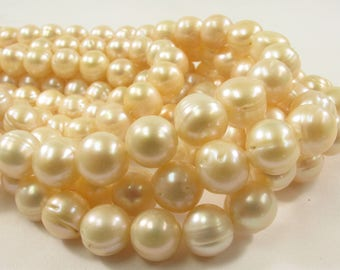 10-11mm Light Peach OR Silver Gray Potato Ringed Freshwater Pearl Beads Genuine Natural Pearl Beads Cultured Freshwater Pearls(560-PMIX1011)