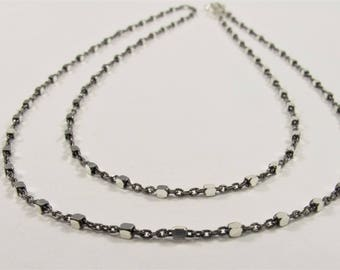 18 inch .925 Oxidized Sterling Silver Chain Necklace,Genuine Solid Sterling Silver Chain Necklace with Silver Square Bead Accent (628-SNK18)