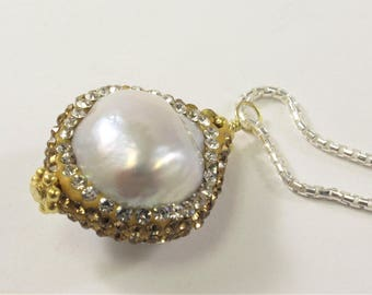 Natural White Baroque Pearl w/Clear & Gold Rhinestone/CZ Pearl PendantNecklace w/925 Sterling Silver Chain Necklace,Pearl Pendant(671-NKP18)