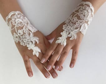 EXPRESS SHIPPING Ivory Wedding gloves  bridal gloves lace gloves fingerless gloves french lace gloves