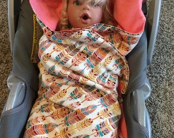 Car seat blanket feathers coral