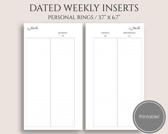 "Jan-Mar 2018 Dated Weekly Printable Planner Inserts, Q1, WO4P Vertical Column Layout ~ Personal Rings / 3.7"" x 6.7"" Instant Download (WVC4)"