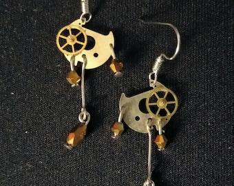 Steampunk watch movement earrings