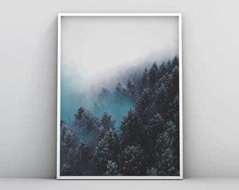 Blue Forest Wall Art, Blue Landscape Art, Blue Nature Print, Modern Blue Printable, Forest Photography Printable, Indigo Forest Printable