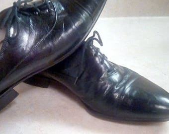 Vintage Made in Spain Black Leather Wing Tip Crown Collection Mario Bismelfi Phillips Shoes 7