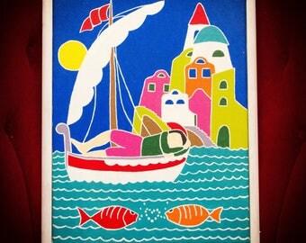 Fisherman in Venice Painting Mediterranean Folk Art