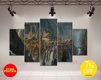 Rivendell canvas, House in the mountains, Rivendel, Lord of the rings, Rivendell print, LOTR canvas, LOTR print art, LOTR canvas art, LoTR