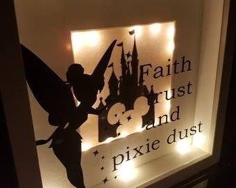 Hand Made Disneyland Castle and Pixie Light Up Shadow Box Frame. Faith Trust and Pixie Dust