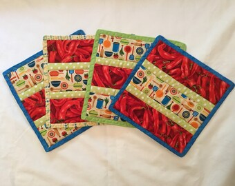 Kitchy Red Pepper Hot Pads Set of 4