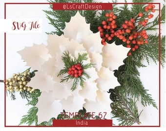 Paper Poinsettia Flower, SVG Paper flower, Christmas Decor, Christmas flower, Base Including, Cricut and Silhouette Ready