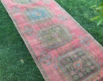 "Midcentury modern oushak runner rug.3x9""6ft.hallway decor turkish runner rug,primitive corridor kitchen rug, interior floor runner rug."