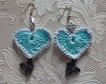 Crochet Earrings Butterfly and beads