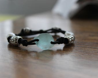 Aqua Beach Glass Stretch Bracelet