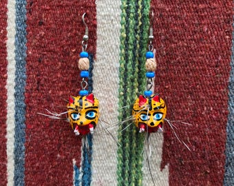 Vintage Handmade Wooden Jaguar Earrings, Comes with Pin as Free Gift, FREE SHIPPING