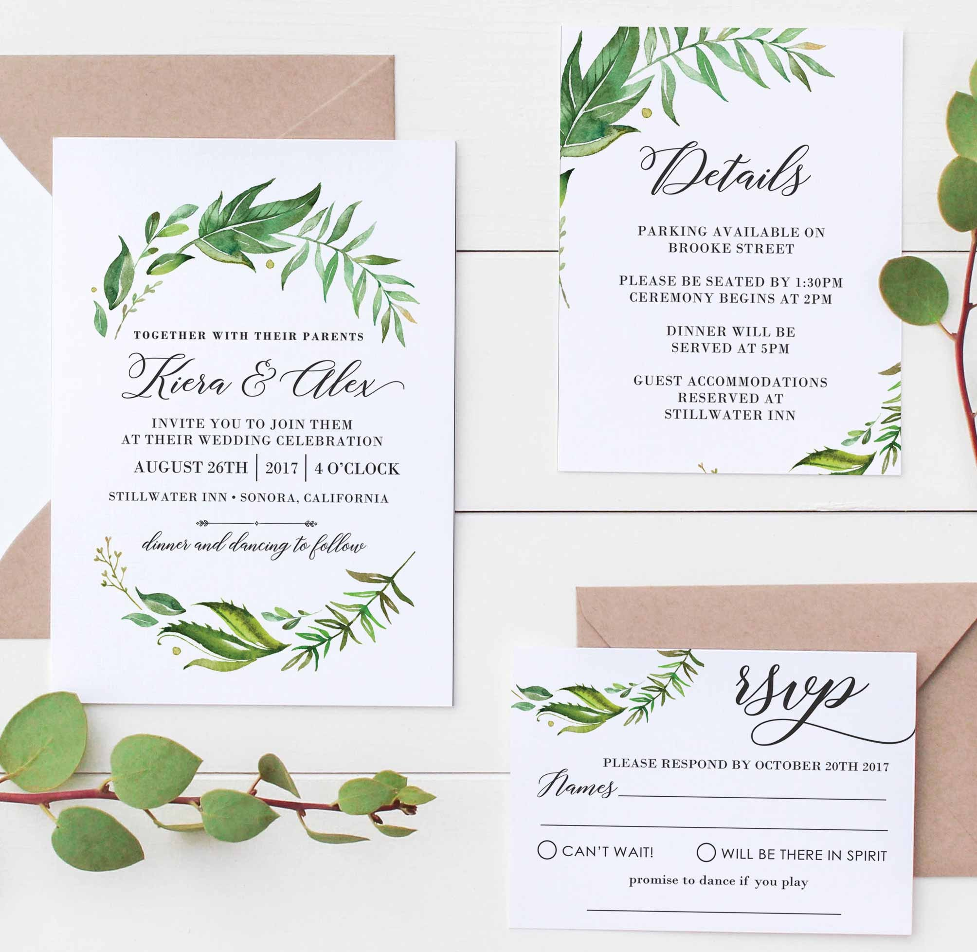 Leafy green Wedding Invite Set, Floral Wedding Invitations, Rustic ...