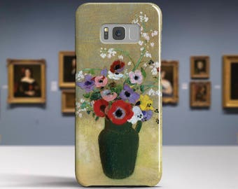 "Odilon Redon, ""Green Vase with Flowers"". Samsung, LG, etc phone case. Samsung Galaxy S6 Edge case. Samsung Galaxy A5 A3 2017 case. Art phone"