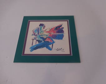 Print by Michael Smiefolo, signed (reproduction) - Jazz Musician