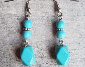 Simulated Turquoise Drop Earrings