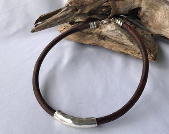 Leather choker with silver slider