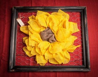 Framed Burlap Sunflower