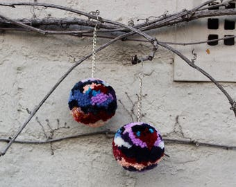 HeyHiHello (Navy) Pom Pom Earrings